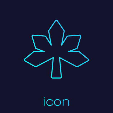 Turquoise line Chestnut leaf icon isolated on blue background. Vector