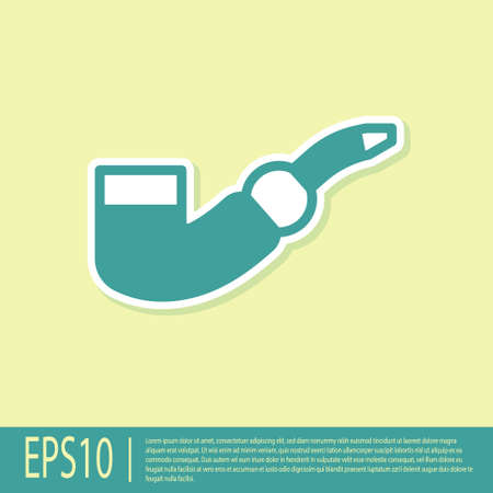 Green Smoking pipe icon isolated on yellow background. Tobacco pipe. Vector