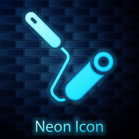 Glowing neon Paint roller brush icon isolated on brick wall background. Vector