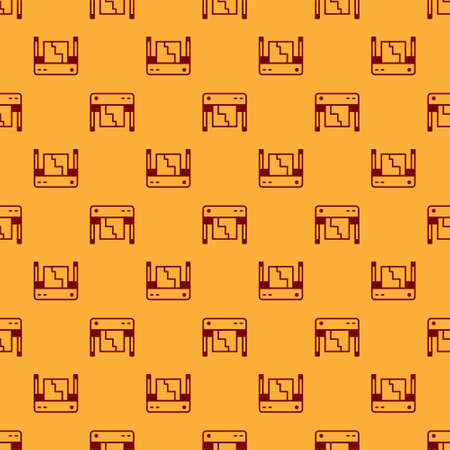 Red Plotter icon isolated seamless pattern on brown background. Large format multifunction printer. Polygraphy, printshop service. Vector
