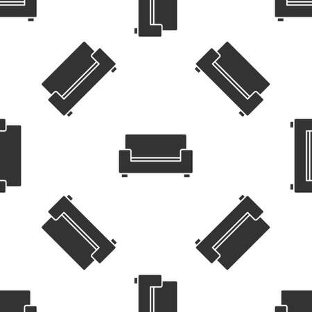 Grey Sofa icon isolated seamless pattern on white background. Vector Stock Illustratie