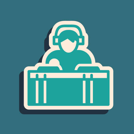 Green DJ wearing headphones in front of record decks icon isolated on green background. DJ playing music. Long shadow style. Vector