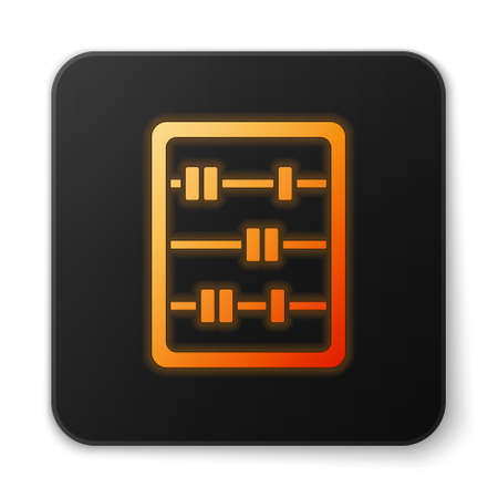 Orange glowing neon Abacus icon isolated on white background. Traditional counting frame. Education sign. Mathematics school. Black square button. Vector