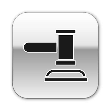 Black Judge gavel icon isolated on white background. Gavel for adjudication of sentences and bills, court, justice. Auction hammer. Silver square button. Vector