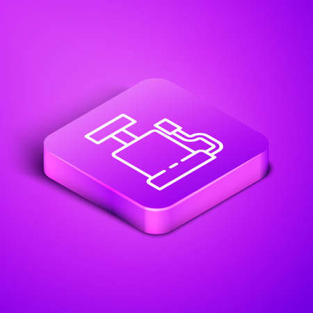 Isometric line Car air pump icon isolated on purple background. Purple square button. Vector