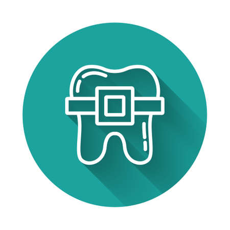 White line Teeth with braces icon isolated with long shadow. Alignment of bite of teeth, dental row with with braces. Dental concept. Green circle button. Vector