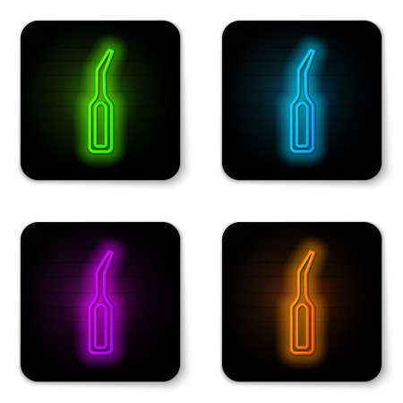Glowing neon line Dental explorer scaler for teeth icon isolated on white background. Black square button. Vector