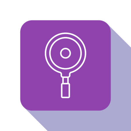 White line Frying pan icon isolated on white background. Fry or roast food symbol. Purple square button. Vector
