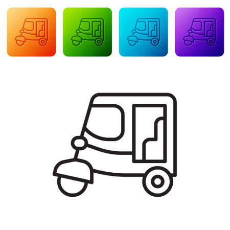 Black line Taxi tuk tuk icon isolated on white background. Indian auto rickshaw concept. Delhi auto. Set icons in color square buttons. Vector Vetores