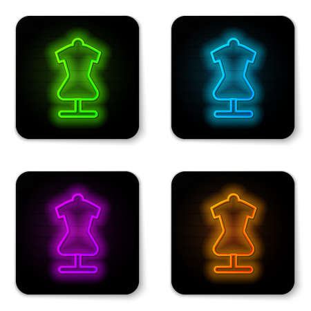 Glowing neon line Mannequin icon isolated on white background. Tailor dummy. Black square button. Vector