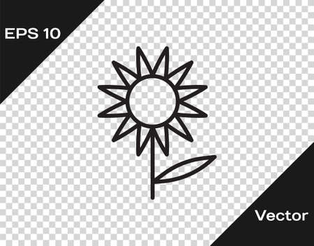 Black line Sunflower icon isolated on transparent background. Vector