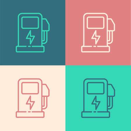 Pop art line Electric car charging station icon isolated on color background. Eco electric fuel pump sign. Vector Ilustrace