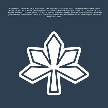 Blue line Chestnut leaf icon isolated on blue background. Vector