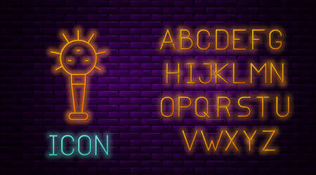 Glowing neon line Mace, symbol of ukrainian national power icon isolated on brick wall background. Traditional weapons. Mace of Ukrainian Hetman. Neon light alphabet. Vector Vectores