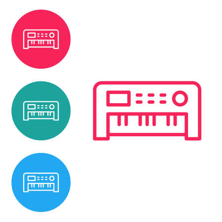 Red line Music synthesizer icon isolated on white background. Electronic piano. Set icons in circle buttons. Vector