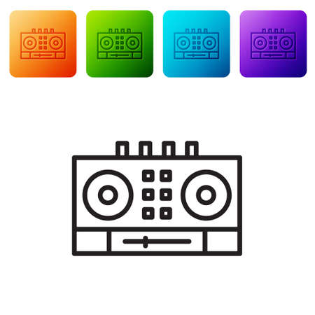 Black line DJ remote for playing and mixing music icon isolated on white background. DJ mixer complete with vinyl player and remote control. Set icons in color square buttons. Vector
