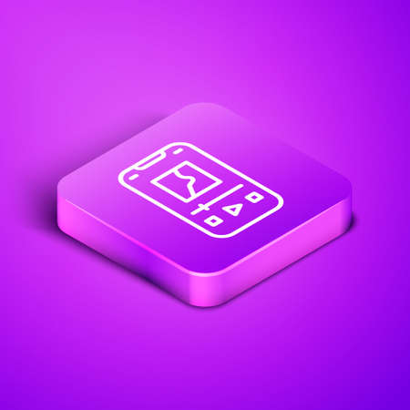 Isometric line Music player icon isolated on purple background. Portable music device. Purple square button. Vector