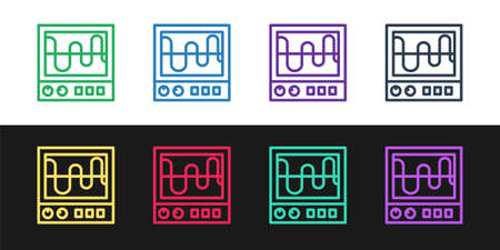 Set line Oscilloscope measurement signal wave icon isolated on black and white background. Vector Stock Illustratie
