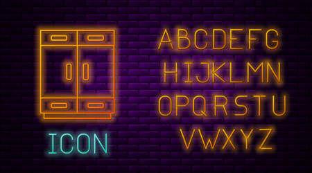 Glowing neon line Wardrobe icon isolated on brick wall background. Neon light alphabet. Vector