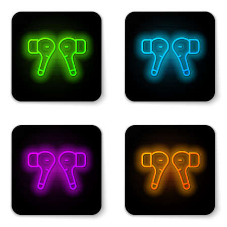 Glowing neon line Air headphones icon icon isolated on white background. Holder wireless in case earphones garniture electronic gadget. Black square button. Vector Çizim