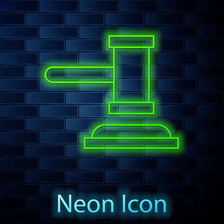 Glowing neon line Judge gavel icon isolated on brick wall background. Gavel for adjudication of sentences and bills, court, justice. Auction hammer. Vector