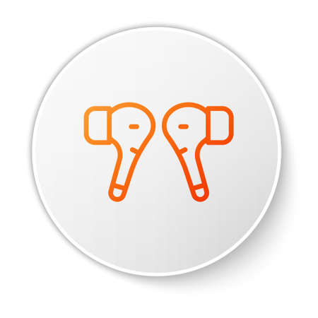 Orange line Air headphones icon icon isolated on white background. Holder wireless in case earphones garniture electronic gadget. White circle button. Vector