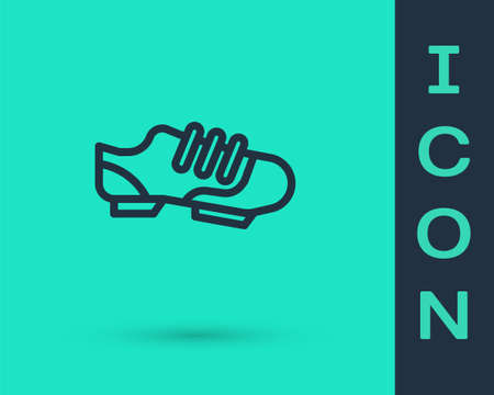 Black line Triathlon cycling shoes icon isolated on green background. Sport shoes, bicycle shoes. Vector Banco de Imagens - 154169051