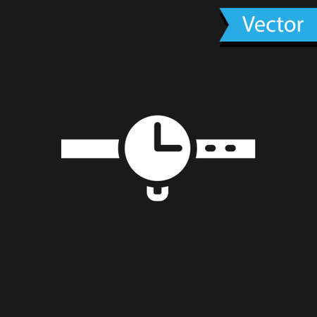 White Wrist watch icon isolated on black background. Wristwatch icon. Vector