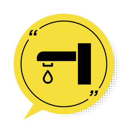 Black Water tap icon isolated on white background. Yellow speech bubble symbol. Vector