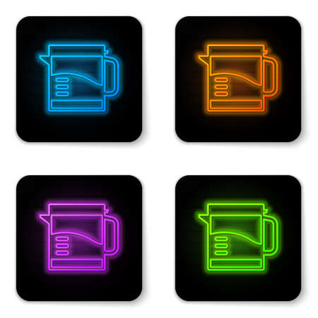 Glowing neon Electric kettle icon isolated on white background. Teapot icon. Black square button. Vector