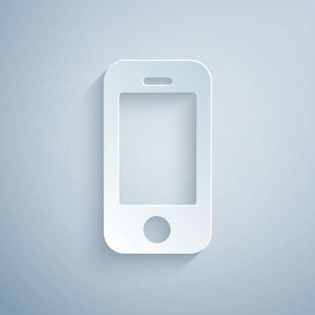 Paper cut Smartphone, mobile phone icon isolated on grey background. Paper art style. Vector Иллюстрация
