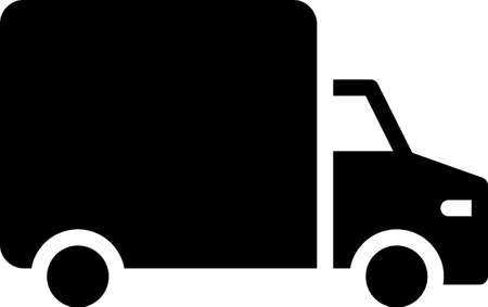Black Delivery cargo truck vehicle icon isolated on white background. Vector