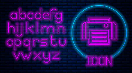 Glowing neon Printer icon isolated on brick wall background. Neon light alphabet. Vector