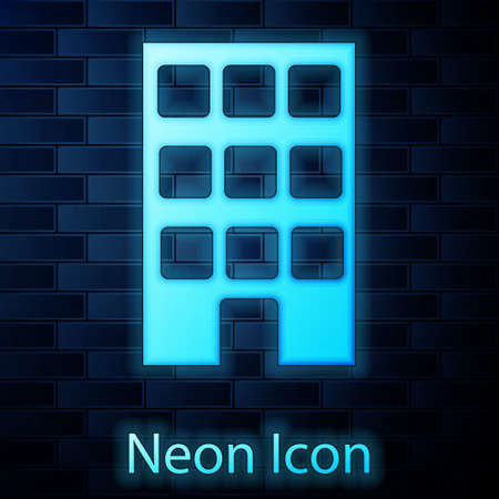 Glowing neon House icon isolated on brick wall background. Home symbol. Vector Иллюстрация