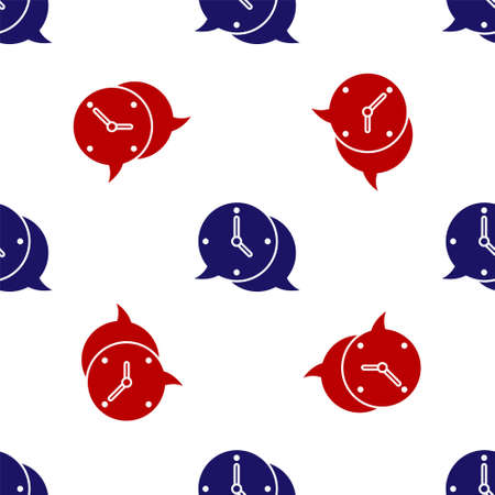 Blue and red Clock with speech bubble icon isolated seamless pattern on white background. Time sign. Office watch or timer symbol. Vector