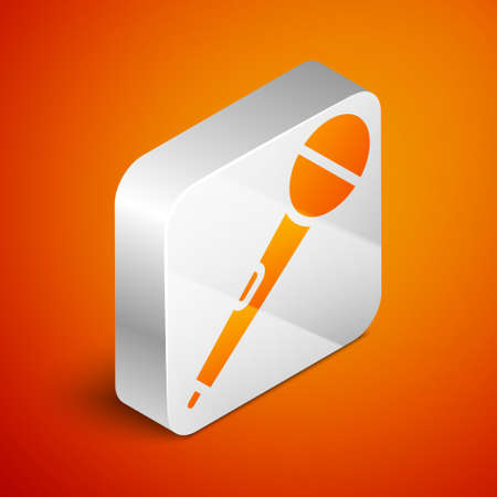 Isometric Microphone icon isolated on orange background. On air radio mic microphone. Speaker sign. Silver square button. Vector