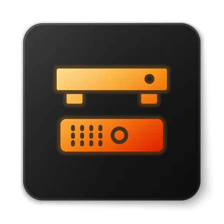 Orange glowing neon Multimedia and TV box receiver and player with remote controller icon isolated on white background. Black square button. Vector