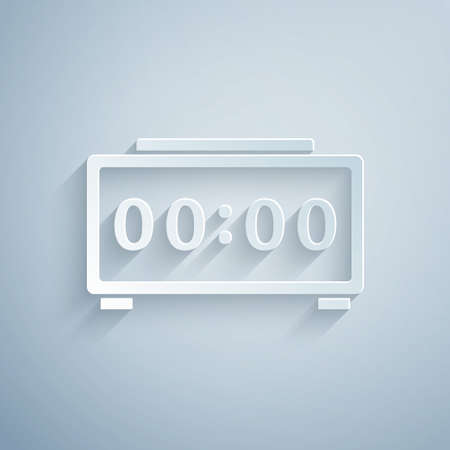 Paper cut Digital alarm clock icon isolated on grey background. Electronic watch alarm clock. Time icon. Paper art style. Vector