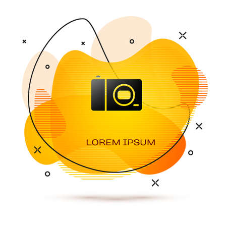 Black Photo camera icon isolated on white background. Foto camera icon. Abstract banner with liquid shapes. Vector