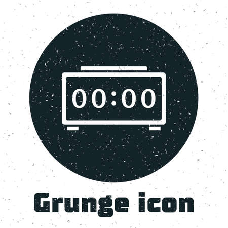 Grunge Digital alarm clock icon isolated on white background. Electronic watch alarm clock. Time icon. Monochrome vintage drawing. Vector