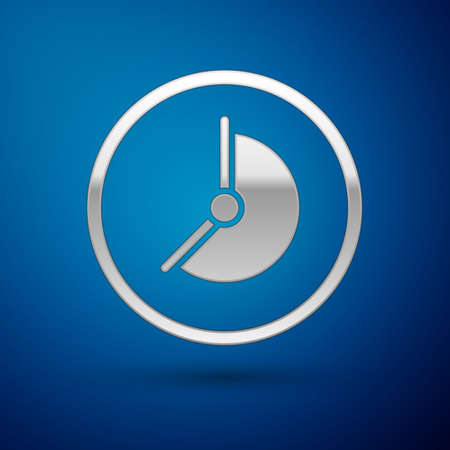 Silver Clock icon isolated on blue background. Time symbol. Vector Иллюстрация