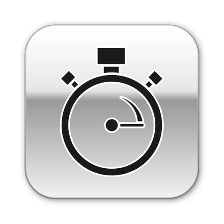 Black Stopwatch icon isolated on white background. Time timer sign. Chronometer sign. Silver square button. Vector