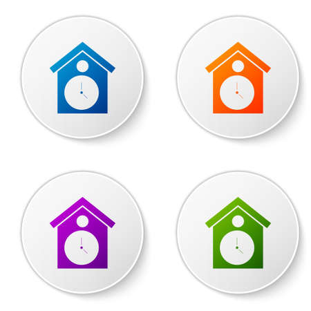 Color Retro wall watch icon isolated on white background. Cuckoo clock sign. Antique pendulum clock. Set icons in circle buttons. Vector
