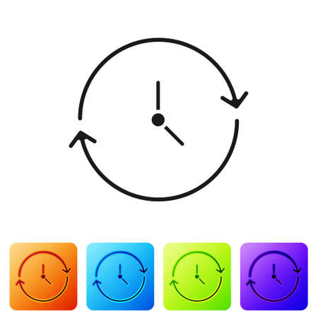 Black Clock icon isolated on white background. Time symbol. Set icons in color square buttons. Vector