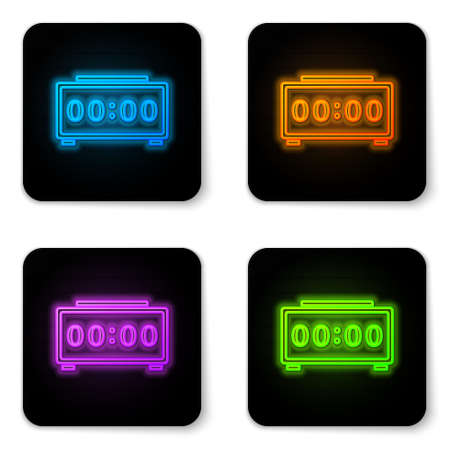 Glowing neon Digital alarm clock icon isolated on white background. Electronic watch alarm clock. Time icon. Black square button. Vector Иллюстрация