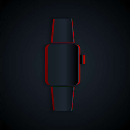 Paper cut Smartwatch icon isolated on black background. Paper art style. Vector