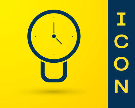 Blue Clock icon isolated on yellow background. Time symbol. Vector