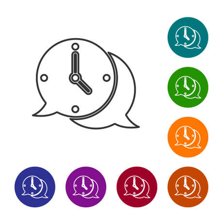 Black line Clock with speech bubble icon isolated on white background. Time sign. Office watch or timer symbol. Set icons in color circle buttons. Vector Иллюстрация