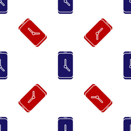 Blue and red Alarm clock app smartphone interface icon isolated seamless pattern on white background. Vector