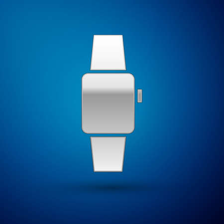 Silver Smartwatch icon isolated on blue background. Vector
